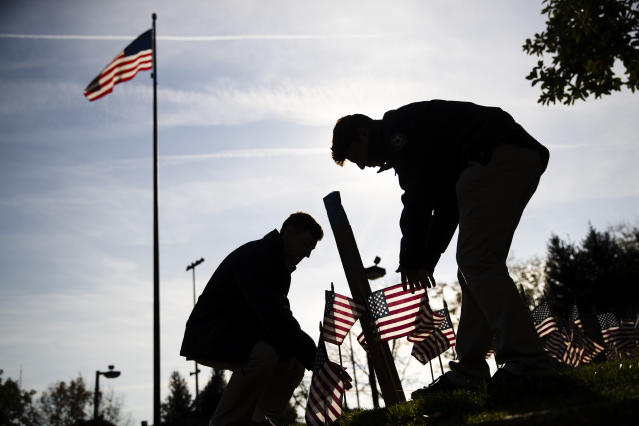 American flags are posted in the ground ahead of a Veterans Day ceremony at the Vietnam War Memorial in Philadelphia, Nov. 11, 2019. (Photo: Matt Rourke/AP)