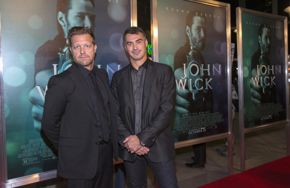 "Directors David Leitch (L) and Chad Stahelski pose at a special screening of their movie ""John Wick"" in Los Angeles, California October 22, 2014. The movie opens in the U.S. on October 24.  REUTERS/Mario Anzuoni  (UNITED STATES - Tags: ENTERTAINMENT)"