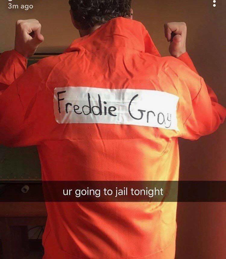 A photo posted online of one of the offensive costumes.