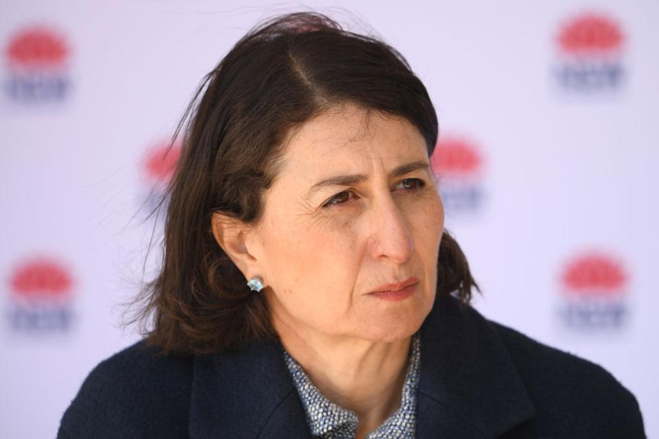 NSW Premier Gladys Berejiklian addresses media during a press conference in Sydney, Saturday, July 17, 2021. (AAP Image/Dan Himbrechts) NO ARCHIVING
