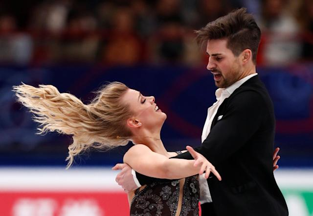 Figure Skating - World Figure Skating Championships - The Mediolanum Forum, Milan, Italy - March 24, 2018 Madison Hubbell and Zachary Donohue of the U.S. during the Ice Dance Free Dance REUTERS/Alessandro Garofalo