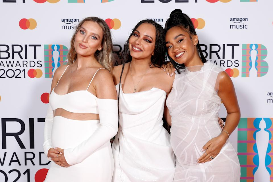LONDON, ENGLAND - MAY 11: Leigh-Anne Pinnock, Jade Thirlwall and Perrie Edwards of Little Mix pose in the media room during The BRIT Awards 2021 at The O2 Arena on May 11, 2021 in London, England. (Photo by JMEnternational/JMEnternational for BRIT Awards/Getty Images)