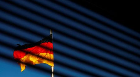 The German flag is pictured at the Reichstag building during exploratory talks about forming a new coalition government in Berlin