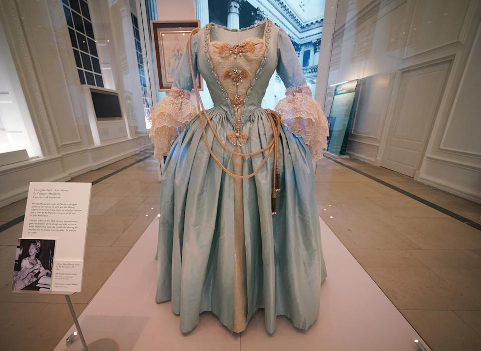 A Georgian style dress worn by Princess Margaret, Countess of Snowdon, by Oliver Messel (dress made by M. Berman Ltd) 1964, at Royal Style in the Making, a new exhibition at Kensington Palace in London, which opens to the public on June 3. Picture date: Wednesday June 2, 2021.