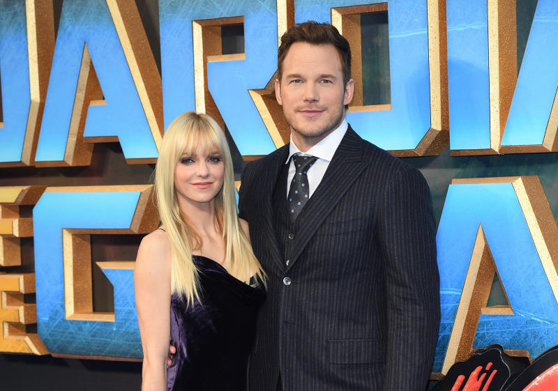 """Anna Faris and Chris Pratt attend a screening of """"Guardians of the Galaxy Vol. 2"""" in 2017 in London."""