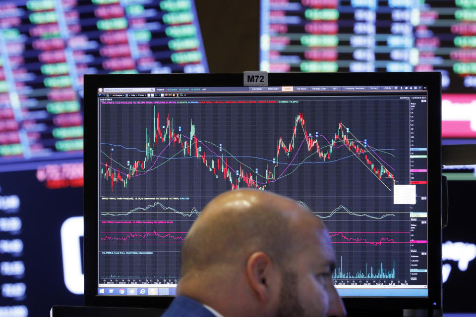 FILE- In this Tuesday, Oct. 26, 2018, photo specialist John Parisi works at his post on the floor of the New York Stock Exchange. The stock market's plunge over the last three weeks has investors to showing love to companies they had been ignoring. Steady, plodding stocks like utilities, household goods makers and real estate investment trusts have done far better than the rest of the market during the recent stumble. (AP Photo/Richard Drew, File)