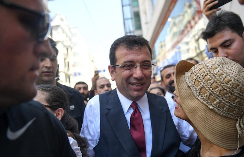 Opposition candidate Ekrem Imamoglu was dramatically stripped of his March victory over claims of election irregularities (AFP Photo/BULENT KILIC)