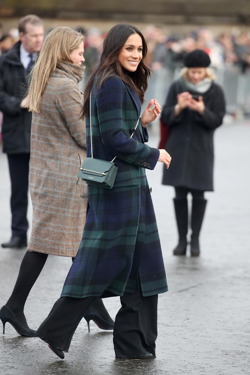 Meghan Markle with the Strathberry bag at Edinburgh Castle on February 13, 2018.