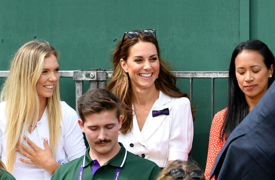 LONDON, ENGLAND - JULY 02: Catherine, Duchess of Cambridge and British tennis player Katie Boulter attend Day two of The Championships - Wimbledon 2019 at All England Lawn Tennis and Croquet Club on July 02, 2019 in London, England. (Photo by Mike Hewitt/Getty Images)
