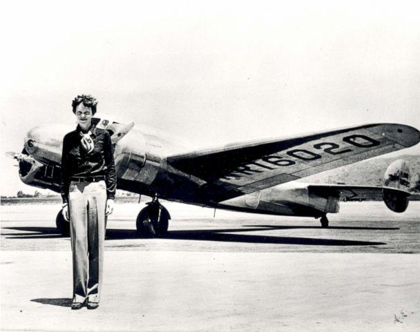 PHOTO: Amelia Earhart stands in front of the Lockheed Electra in which she disappeared in 1937. (Science & Society Picture Library/Getty Images,FILE)