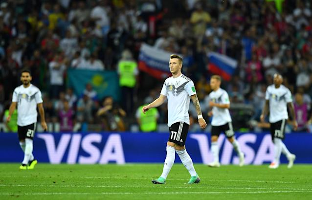 Soccer Football - World Cup - Group F - Germany vs Sweden - Fisht Stadium, Sochi, Russia - June 23, 2018 Germany's Manuel Neuer looks dejected after Sweden's Ola Toivonen (not pictured) scored their first goal REUTERS/Dylan Martinez