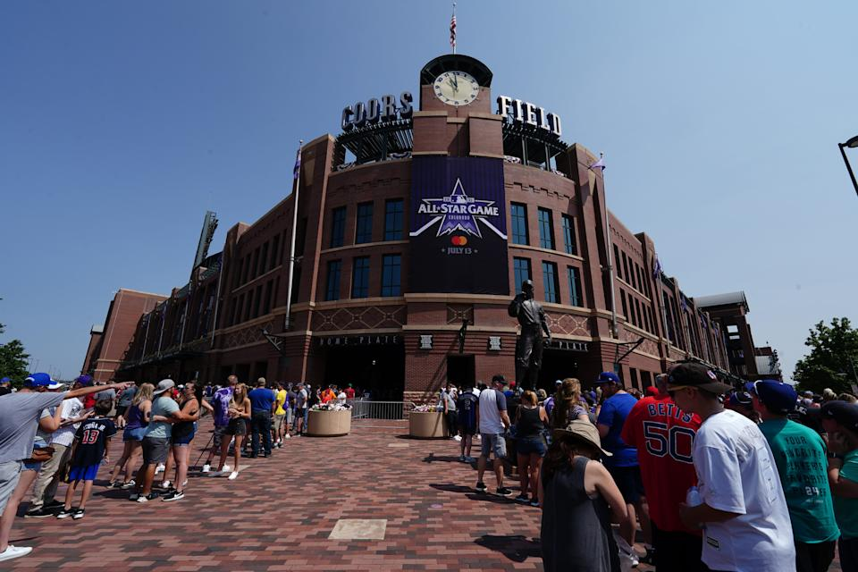 Jul 11, 2021; Denver, CO, USA; General view outside of Coors Field as fans await to enter before the start of the 2021 MLB All Star Futures Game. Mandatory Credit: Ron Chenoy-USA TODAY Sports
