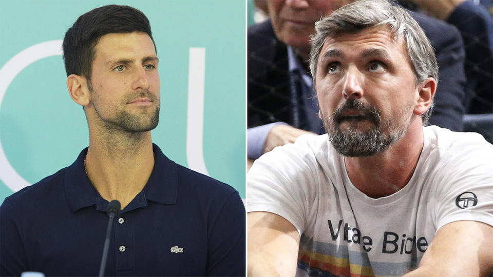 Novak Djokovic. (pictured left) and his coach Goran Ivanisevic (pictured right) has confirmed he has tested positive for coronavirus. (Getty Images)
