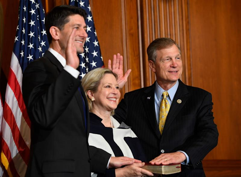 Rep. Brian Babin, R-Texas, along with his wife Roxanne Babin stand with then-House Speaker Paul Ryan, R-Wisconsin, for a ceremonial swearing-in and photo-op during the opening session of the 115th Congress on Tuesday, Jan. 3, 2017.