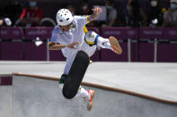 Luiz Francisco of Brazil competes in the men's park skateboarding finals at the 2020 Summer Olympics, Thursday, Aug. 5, 2021, in Tokyo, Japan. (AP Photo/Ben Curtis)