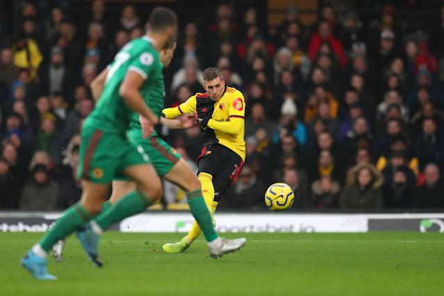 Deulofeu finds the bottom corner to make it 1-0 (Photo by Catherine Ivill/Getty Images)