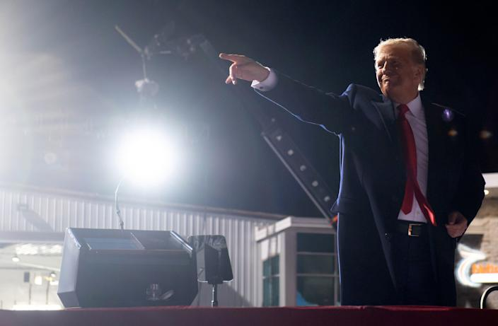 US President Donald Trump leaves after holding a Make America Great Again rally as he campaigns at John Murtha Johnstown-Cambria County Airport in Johnstown, Pennsylvania, October 13, 2020. (Photo by SAUL LOEB / AFP) (Photo by SAUL LOEB/AFP via Getty Images)