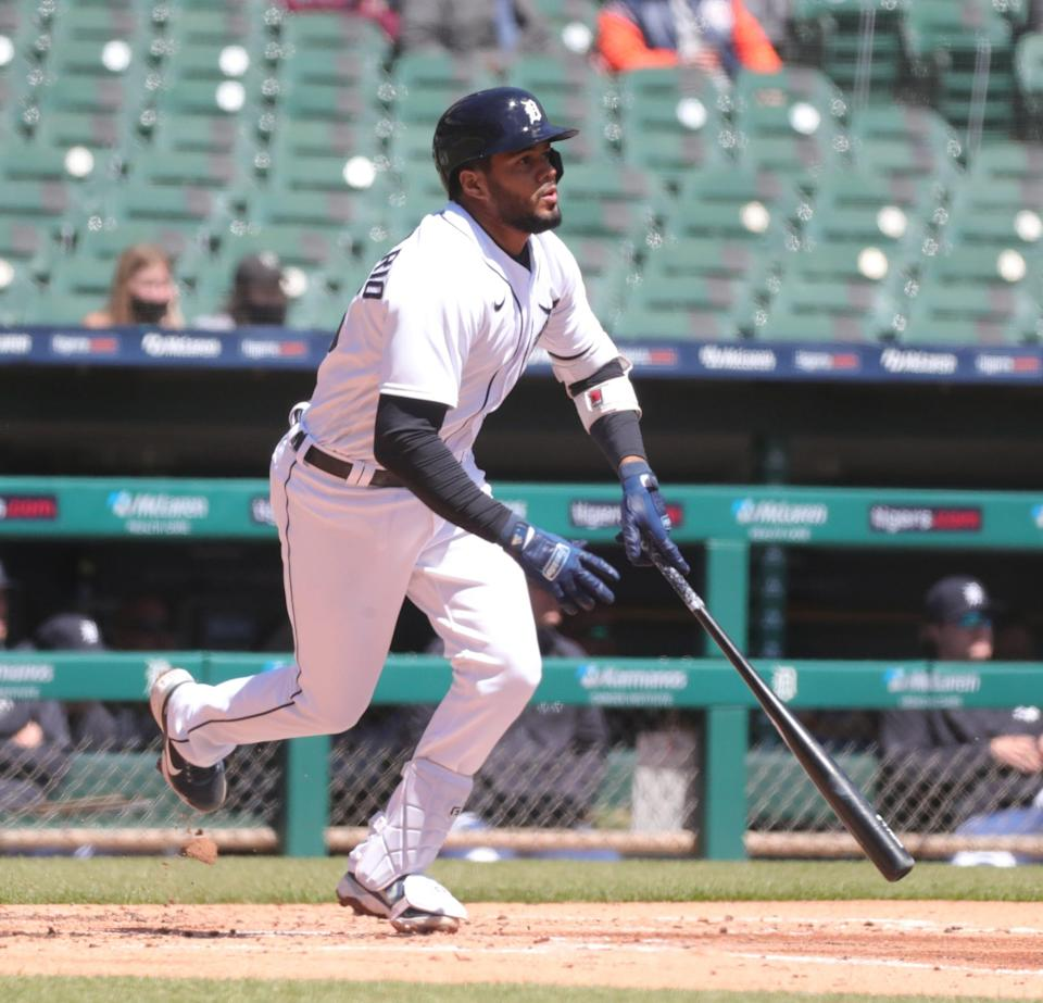 Tigers third baseman Jeimer Candelario singles against Royals pitcher Danny Duffy on Sunday, April 25, 2021, at Comerica Park.