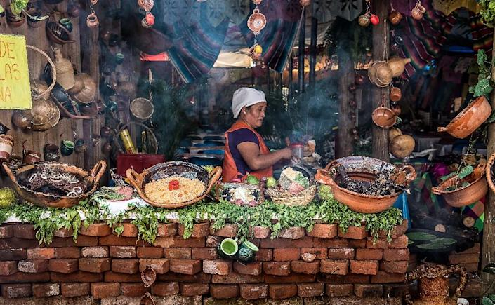 A Mexican woman prepares meals with mole in San Pedro Atocpan, where nine in 10 residents make a living from the sauce of pre-Hispanic origin (AFP Photo/Omar TORRES)