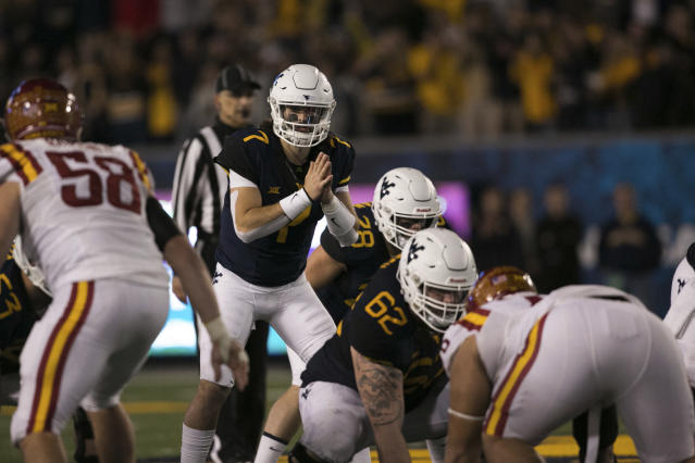 West Virginia quarterback Will Grier (7) during the second half of an NCAA college football game against Iowa State in Morgantown, W.Va., Saturday, Nov. 4, 2017. (AP Photo/Walter Scriptunas II)