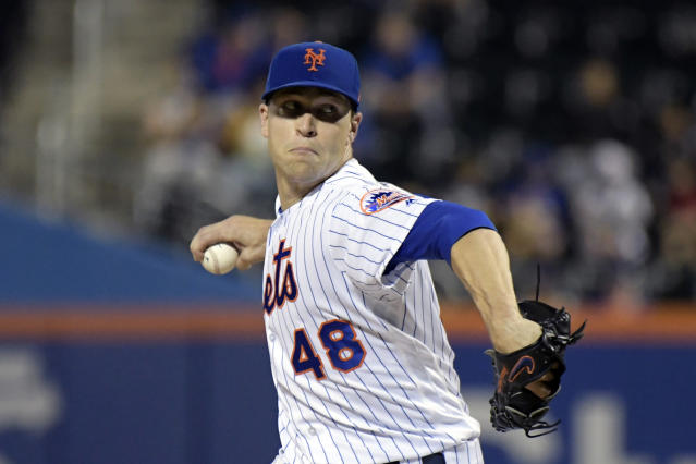 FILE - In this Sept. 26, 2018, file photo, New York Mets pitcher Jacob deGrom delivers the ball to the Atlanta Braves during the second inning of a baseball game in New York. NL Cy Young Award winner Jacob deGrom and the New York Mets agreed to a $17 million, one-year contract, a record raise for an arbitration-eligible player from his $7.4 million salary. The deal was agreed to Friday, Jan. 11, 2019, before the pitcher and team were to exchange proposed salaries in arbitration.(AP Photo/Bill Kostroun, File)