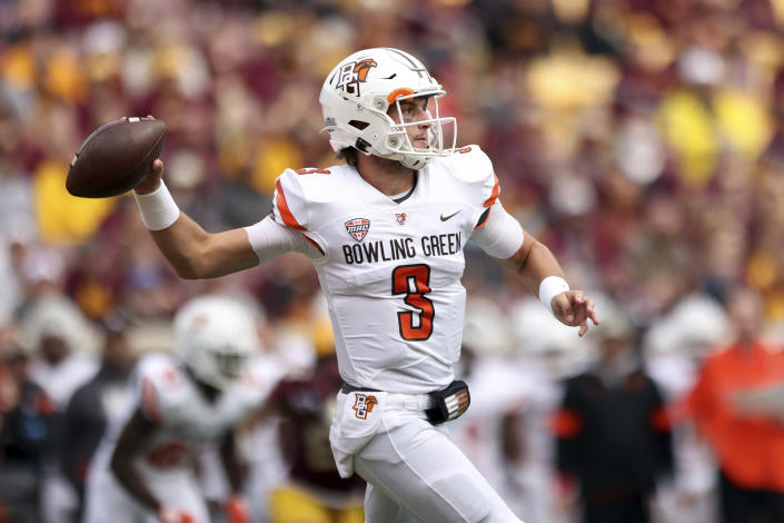 Bowling Green quarterback Matt McDonald (3) throws the ball during the first half of an NCAA college football game against Minnesota, Saturday, Sept. 25, 2021, in Minneapolis. (AP Photo/Stacy Bengs)