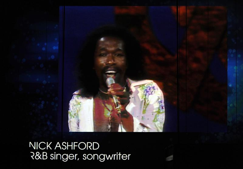 LOS ANGELES, CA - FEBRUARY 12:  A memoriam of recording artist Nick Ashford is displayed on the video screen during the 54th Annual GRAMMY Awards held at Staples Center on February 12, 2012 in Los Angeles, California.  (Photo by Kevin Winter/Getty Images)