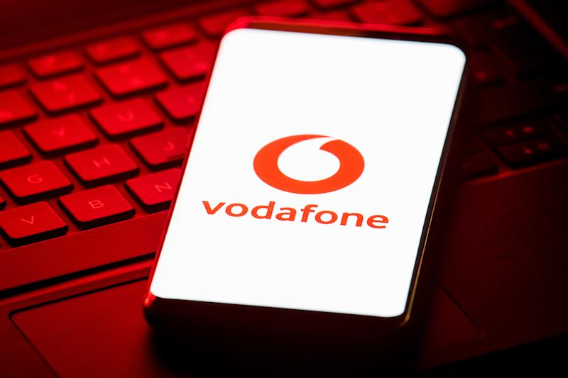 Vodafone logo displayed on the screen of a smartphone. Photo: Dominic Lipinski/PA Wire/PA Images