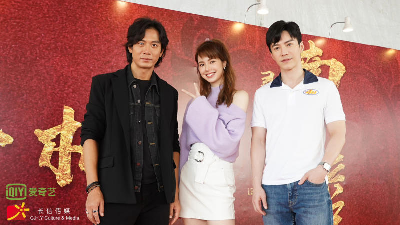 The stars of iQiyi's The Ferryman: Legends of Nanyang (from left) Qi Yu Wu, Kate Kinney and Lawrence Wong (Wang Guan Yi). The actors were at the Iskandar Malaysia Studios, Johor Bahru, Malaysia on the first day of filming the series for GHY Culture & Media. (Photo: iQiyi)