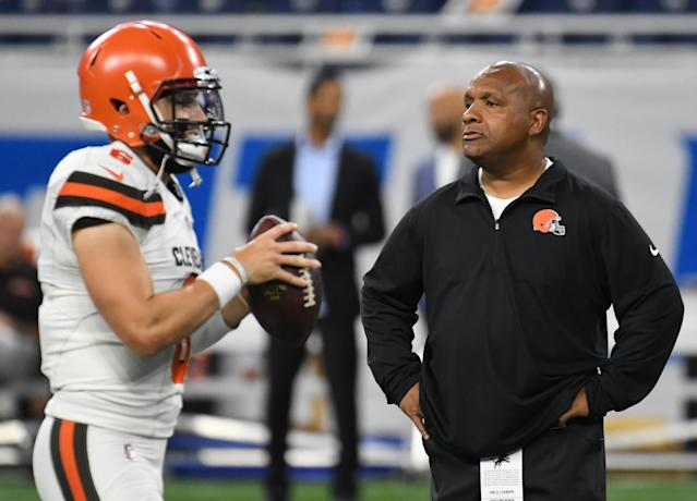 Baker Mayfield's development was one of the reasons the Browns parted ways with head coach Hue Jackson. (Getty Images)