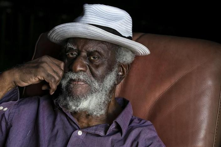 LOS ANGELES, CA - OCTOBER 01: Jazz saxophonist Pharoah Sanders poses at Zebulon on Thursday, Oct. 1, 2020 in Los Angeles, CA. Sanders is a peer and bandmate of John Coltrane's, he's a living legend whose influence has only grown over the years. Sanders and band performed at Zebulon in Frogtown for a filmed concert to be released on his birthday later this month. (Josie Norris / Los Angeles Times)