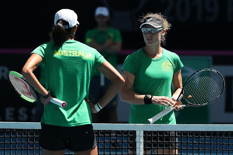 PERTH, AUSTRALIA - NOVEMBER 07: Sam Stosur and Astra Sharma of Australia talk at the net while practicing during the 2019 Fed Cup Final Media Opportunity at RAC Arena on November 07, 2019 in Perth, Australia. (Photo by Paul Kane/Getty Images)