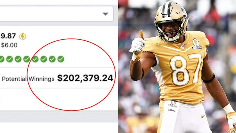 New Orleans Saints tight end Jared Cook (pictured right) giving the thumbs up and huge pay out in a multi (pictured left).
