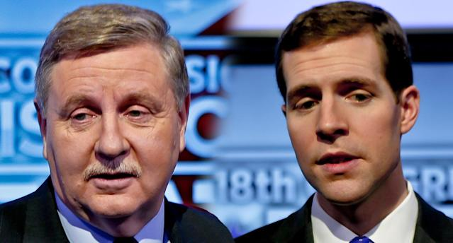 Republican Rick Saccone and Democrat Conor Lamb of Pennsylvania's 18th Congressional District. (Photos: Keith Srakocic/AP)