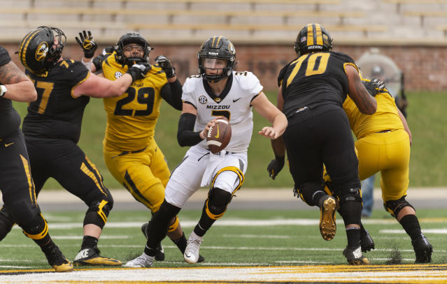 Missouri quarterback Drew Lock threw for 44 TDs in 2017. (AP Photo/L.G. Patterson)
