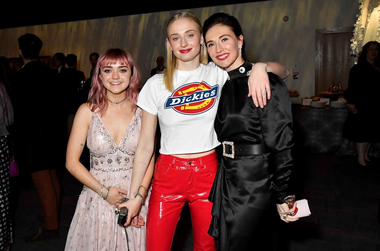 """Maisie Williams, Sophie Turner, Carice Van Houten at the """"Game of Thrones"""" season finale premiere at the Waterfront Hall on April 12, 2019 in Belfast, Northern Ireland."""
