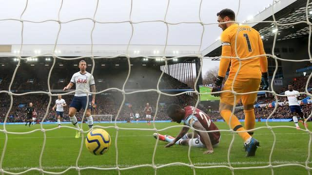 Toby Alderweireld (left) scored at both ends at Villa Park, two days after the birth of his son (Nick Potts/PA)