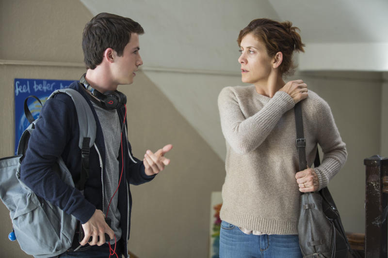 "Dylan Minnette and Kate Walsh in ""13 Reasons Why."" (Netflix)"