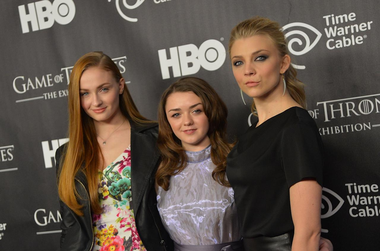 "NEW YORK, NY - MARCH 27:  (L-R) Actors Sophie Turner, Maisie Williams, and Natalie Dormer attend ""Game Of Thrones"" The Exhibition New York Opening at 3 West 57th Avenue on March 27, 2013 in New York City.  (Photo by Mike Coppola/Getty Images)"