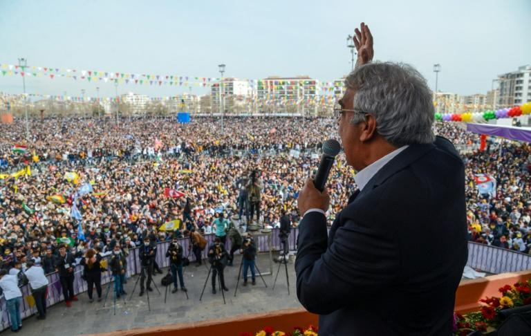 Mithat Sancar, co-chairman of Turkey's pro-Kurdish People's Democratic Party, addresses the crowd in Diyarbakir