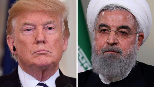 PHOTO: President Donald Trump is pictured in Washington, July 30, 2018 and Iranian President Hassan Rouhani is pictured giving a speech in Tehran, May 2, 2018. (AFP/Getty Images, FILE)