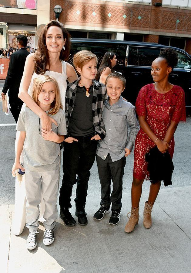 Ange took her brood to the Toronto International Film Festival last week but who was in control? Source: Getty