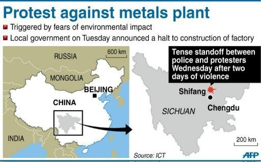 Map locating clashes between police and environmental protesters in Shifang, China. Police stood guard over hundreds of people gathered in a tense Chinese city Wednesday, a day after authorities bowed to violent protests and cancelled plans to build a controversial factory