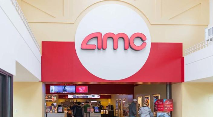 Image of the entrance of an AMC Entertainment (AMC) branded theater. undervalued stocks