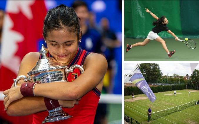 Raducanu with the US Open trophy and playing tennis as a young girl - Special British tennis report: Why finding the next Emma Raducanu is going to be as hard as ever
