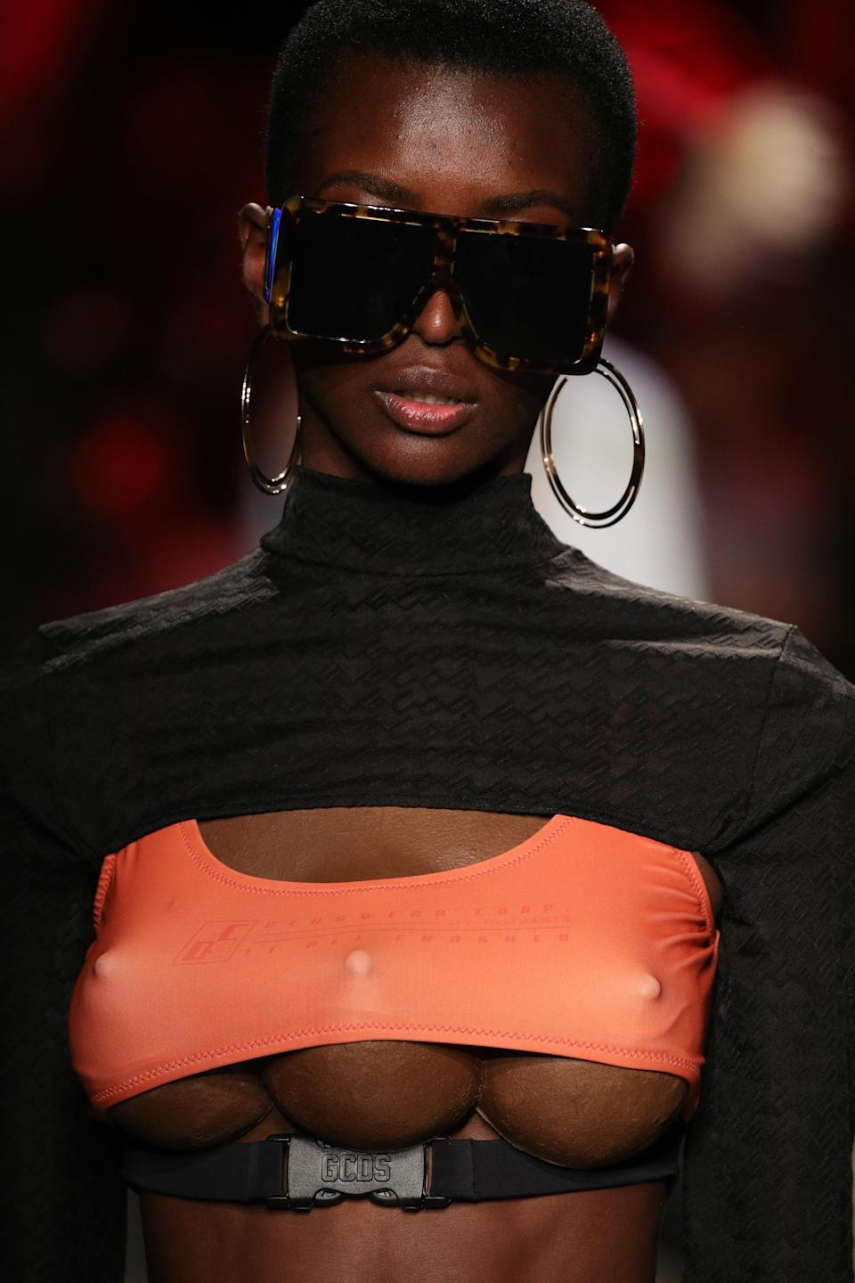 Italian fashion brand GCDS offered up some triple-breasted threats in its fashion show. (Photo: Getty Images)