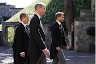 <p>Princes William and Harry during the procession. The men all wore morning suits instead of military dress for the occasion. </p>