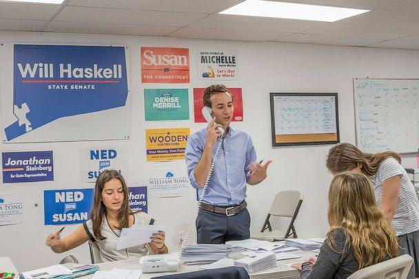 PHOTO: Will Haskell makes calls to voters during his run to represent the 26th district in Connecticut's state senate. (Obtained by ABC News)