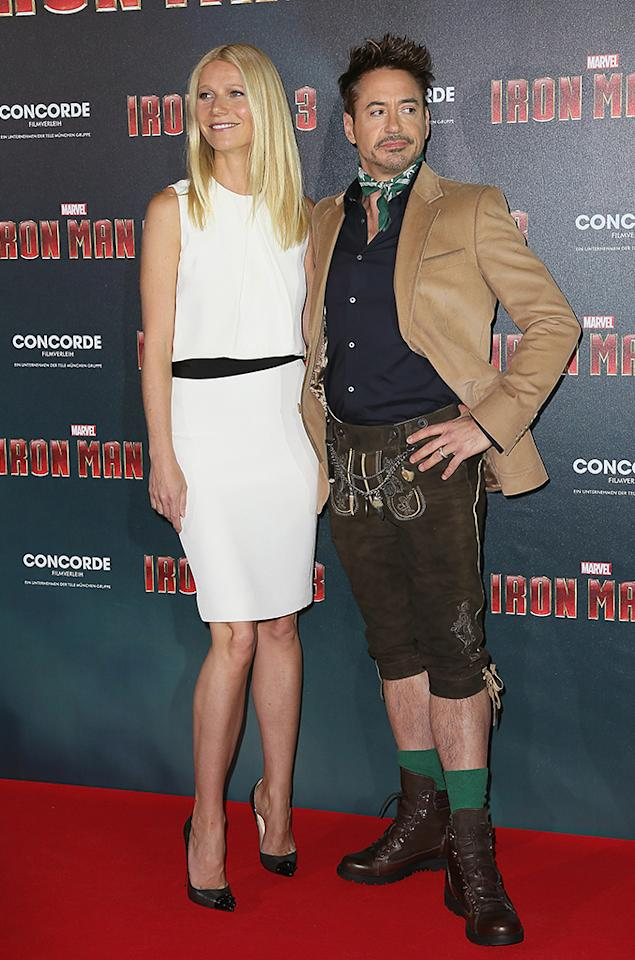 MUNICH, GERMANY - APRIL 12:  Gwyneth Paltrow and Robert Downey Jr attend the 'Iron Man 3' Photocall at Hotel Bayerischer Hof on April 12, 2013 in Munich, Germany.  (Photo by Dominik Bindl/Getty Images)