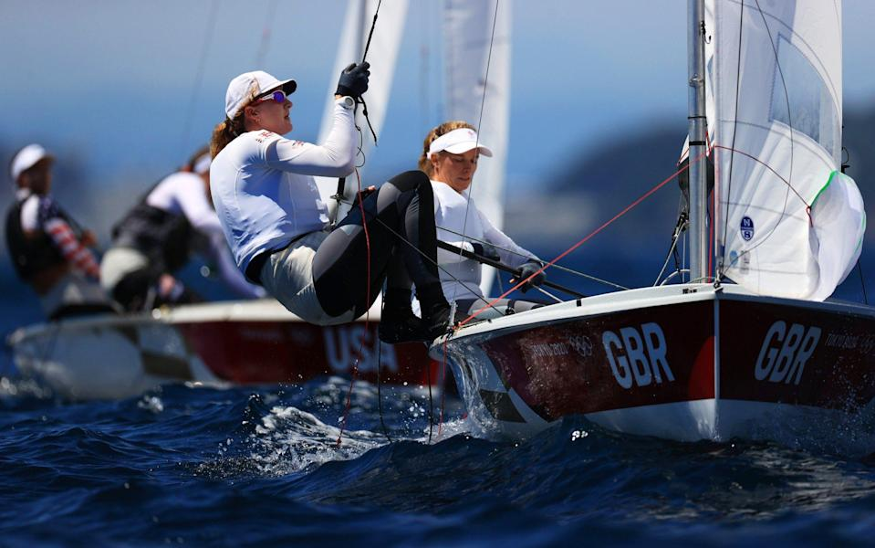 Hannah Mills with Eilidh McIntyre in the Women's 470 Class practice race in Tokyo. - GETTY IMAGES